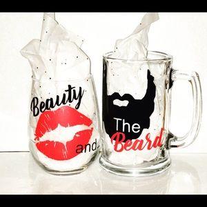 Other - Beauty & The Beard Custom Drinking Glasses
